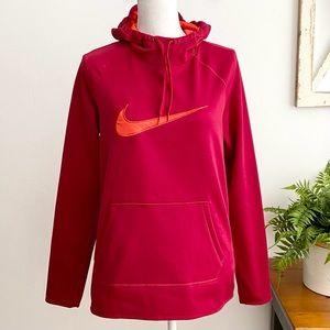Nike Burgundy Orange Dri Fit Pullover Hood…